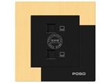 品牌:品上 POSO&#10名称:二位电脑插座&#10型号:AF/C01/2/A