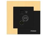 品牌:品上 POSO&#10名称:电话、电视插座&#10型号:AF/T01/TV01/A